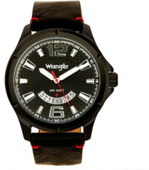 wrangler men's watch, 48mm ip black case, black zoned dial with white markers and crescent cutout, date function, black strap with red accent stitch analog, red second hand