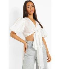 blouse met langere achter zoom en strik, white