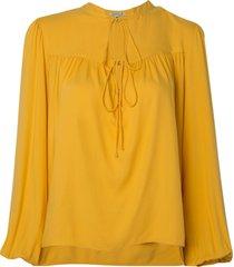 blusa dudalina manga longa decote v franzido feminina (amarelo claro, 44)