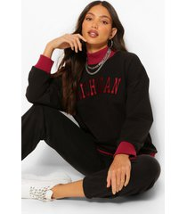 tall 'michigan' varsity sweater, zwart