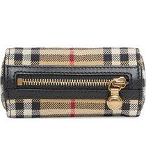 burberry vintage check cotton barrel bag charm - neutrals