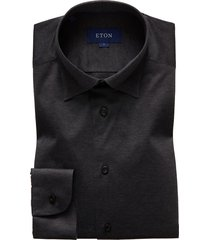 men's eton soft casual line slim fit jersey shirt, size small - brown