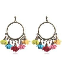 orecchini pendenti etnici con fiori in chiffon orecchini con nappe log per le donne