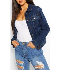 stretch jean jacket, dark blue