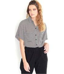 camisa estampada a cuadros vichy blanco con negro, cuello camisero, botones delanteros, manga corta, semi transparente color-multicolor-talla-xl