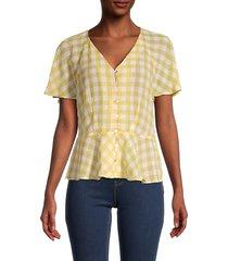 nanette nanette lepore women's gingham peplum top - yellow white - size xl