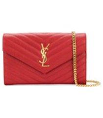 saint laurent bolsa tiracolo de couro - vermelho