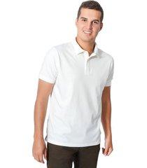 camiseta tipo polo tela pique color siete para hombre - blanco white