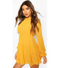 dobby spot mesh skater dress, mustard