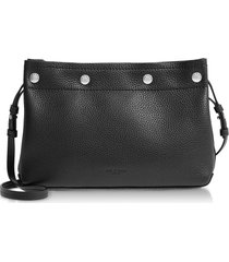 rag & bone black leather compass snap crossbody bag