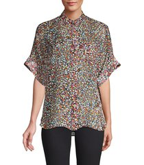equipment women's alvia short-sleeve silk blouse - true black multi - size xs
