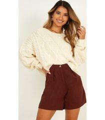 showpo trip to bermuda shorts in chocolate linen look - 12 (l) shorts