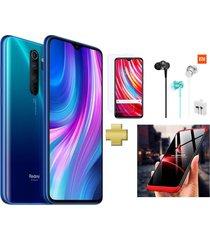 celular xiaomi redmi note 8 pro 128gb 6gb ram azul vidrio+audifonos+estuche360