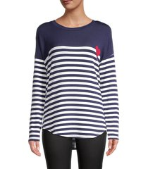 for the republic women's striped longline top - navy white - size xl