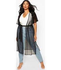 plus dobby mesh belted kimono, black