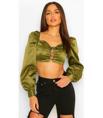 geweven veter crop top, olive