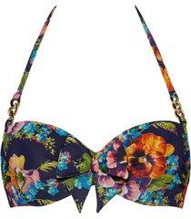 jardin des fleurs plunge balcony bikini top | wired padded floral - 36ddd/f