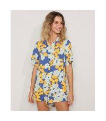 camisa feminina ampla estampada floral manga curta azul