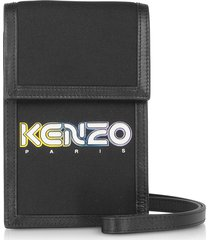 kenzo designer handbags, black kombo phone holder on strap