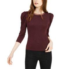 bar iii mesh-trim puff-sleeve top, created for macy's