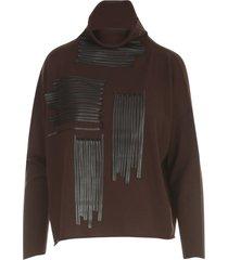 pierantoniogaspari embroidered ecofur high neck short sweater