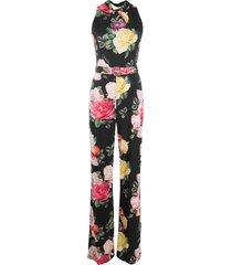 philipp plein selene all-over floral print jumpsuit - black