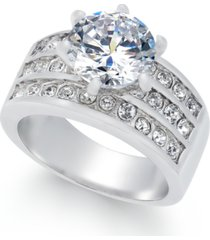 charter club silver-tone crystal triple-row ring, created for macy's