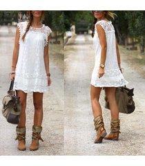 zanzea verano ocasional de las mujeres sin mangas negro blanco mini vestidos de encaje de la borla corta sólido vestido de tallas vestidos (blanco) -blanco