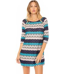 mc2 saint barth multicolor blue and pink knitted mini dress