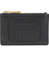 marc jacobs women's top zip multi leather card case - black