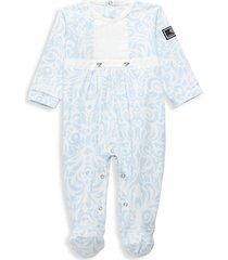 versace baby girl's printed footie - light blue - size 3 months