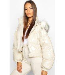 crop vinyl faux fur trim puffer jacket, stone