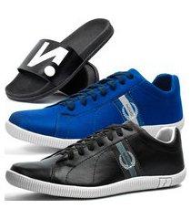kit 2 pares de sapatênis casual dhl masculino preto e azul + chinelo slide