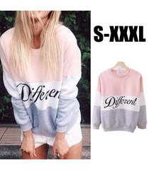 pink women casual autumn winter women fleece hoodies printed letters sweatshirt