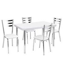conjunto de mesa de jantar com 4 cadeiras gisele corino branco e cromado