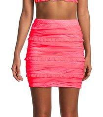 for love & lemons women's vixen swiss dot mini skirt - neon coral - size s