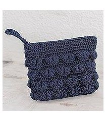 crocheted cosmetic bag, 'summer frill in navy' (guatemala)