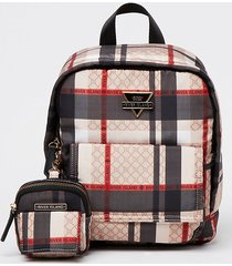 river island womens beige front flap checked backpack & pouch