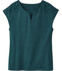 shirt met kant, smaragdgroen 36/38