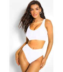 mix & match fuller bust v neck bikini crop, white