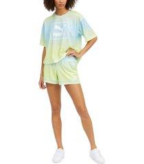 puma women's tie-dyed mesh t-shirt