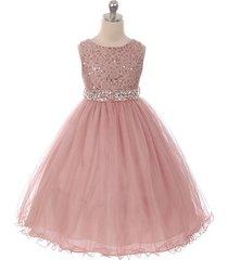 mauve sequin bodice double layers tulle skirt rhinestones flower girl dress