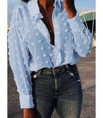 yoins blusa de manga larga con cuello de lunares classic