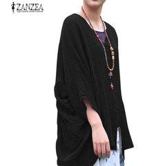 zanzea botones de manga murciélago para mujer cuello en v camisa informal tops cascada blusa étnica -negro