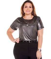 blusa brillante cuello rendondo plus