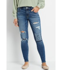 maurices womens jeans denimflex™ high rise dark patchwork ripped jegging blue denim