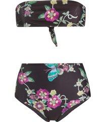 redvalentino floral print high-waist bikini - black