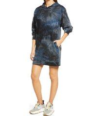women's fraiche by j tie dye long sleeve hoodie minidress, size large - black