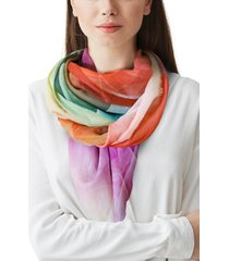 women's nicoletta rosi digital floral print square scarf, size one size - black
