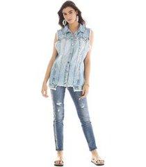 colete oversizer detalhe cadarco jeans g